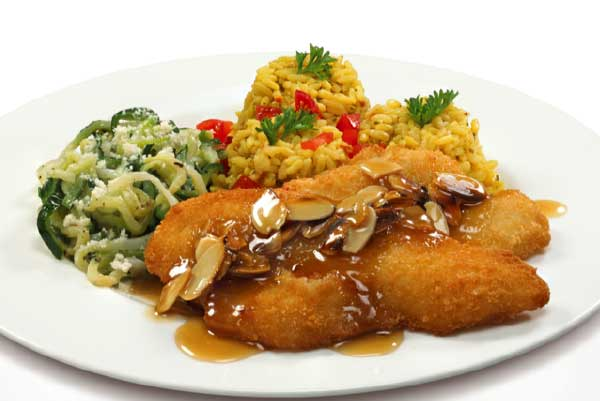 Eastern Fish Breaded Flounder Almondine with Rice Pilaf and Zucchini Noodles