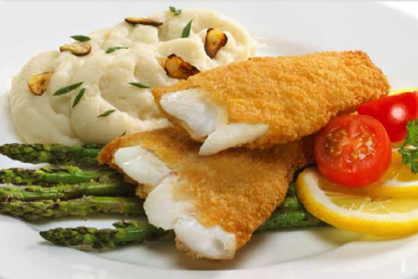 Panko Breaded Haddock with Garlic Mashed and Roasted Asparagus