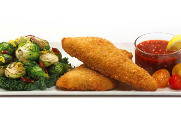 Breaded Pollock and Brussel Sprouts with Sweet Thai Chili Sauce